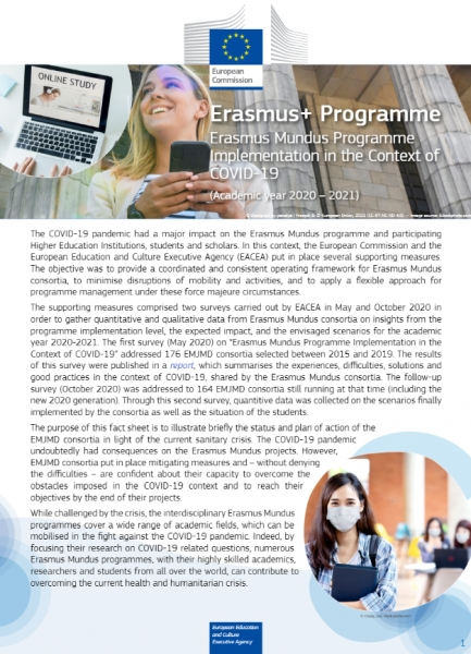 Erasmus Mundus programme implementation in the context of Covid-19 (Academic year 2020 – 2021)
